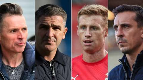 Dale Vince, Ryan Lowe, Eoin Doyle and Gary Neville