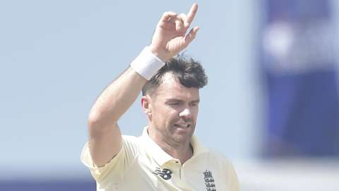 England's James Anderson celebrates taking a wicket against Sri Lanka