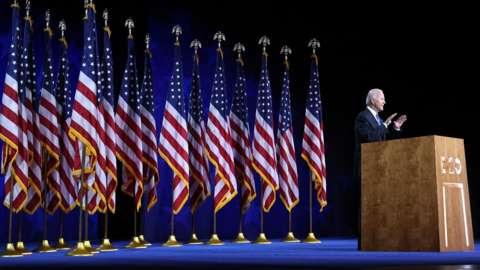 Joe Biden gives his speech