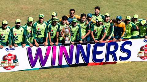 Pakistan with the T20 series trophy