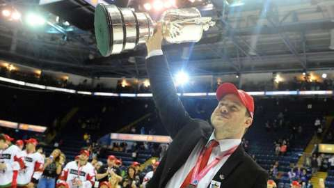 Cardiff Devils head coach Andrew Lord with the 2019 Elite League Play-off Championship trophy