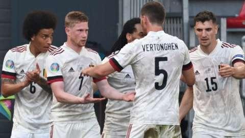 Belgium players celebrate Kevin de Bruyne's goal