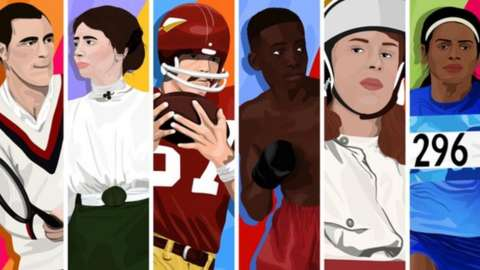 Split image of LGBT+ sports icons