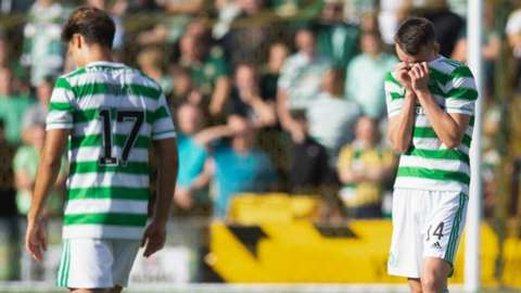 Celtic players during the defeat to Livingston