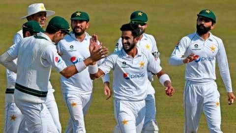 Pakistan seamer Hasan Ali celebrates wicket against South Africa