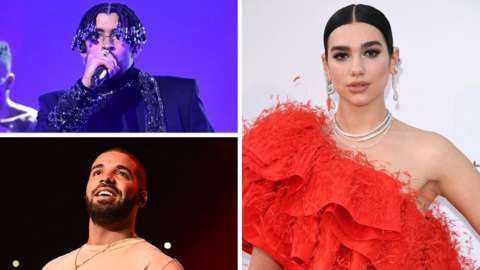 Bad Bunny, Dua Lip and Drake