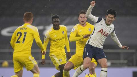 Action from Tottenham v Fulham in the 2020-21 Premier League