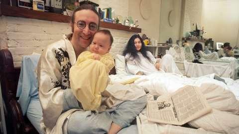 John Lennon, Sean Lennon and Yoko Ono