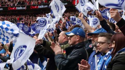 Portsmouth supporters at EFL Trophy final 2019