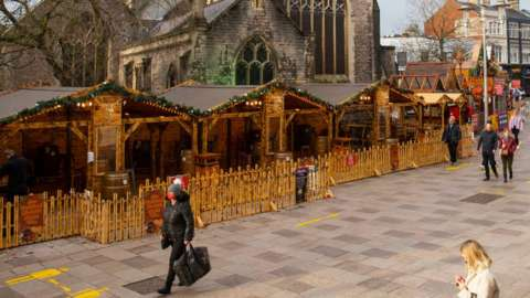 The Christmas market in Cardiff city centre