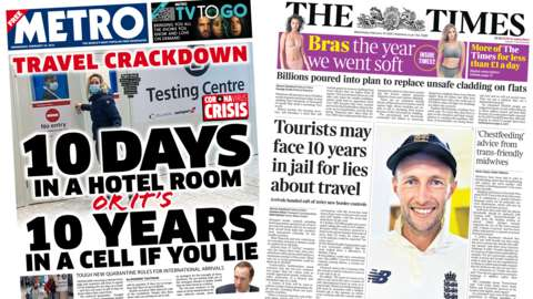 The Metro and the Times front pages
