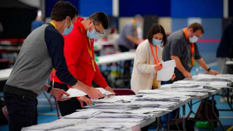 Counting continues on Saturday in the Welsh Senedd elections at the Cardiff City House of Sport