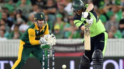 South Africa wicketkeeper Quinton de Kock and Ireland's Kevin O'Brien