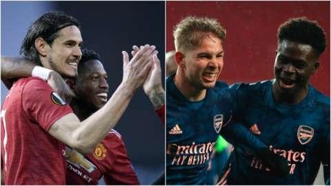 Edinson Cavani, Emile Smith Rowe and Bukayo Saka celebrate goals in the Europa League