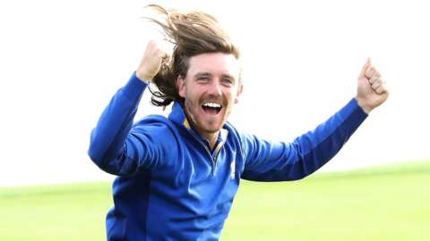 Tommy Fleetwood celebrates Europe's success in 2018