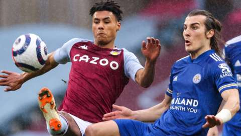 Caglar Soyuncu (right) in action for Leicester against Aston Villa