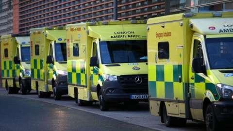 Ambulances line up