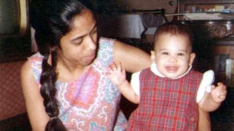 Shyamala Gopalan (left) with Kamala Harris