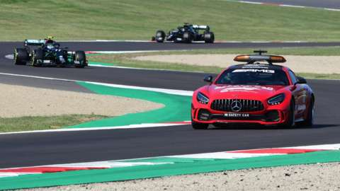 Safety car running on track at Mugello