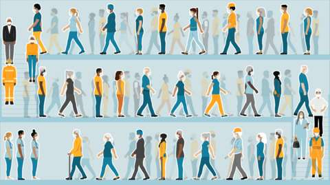 Illustration of queues of people