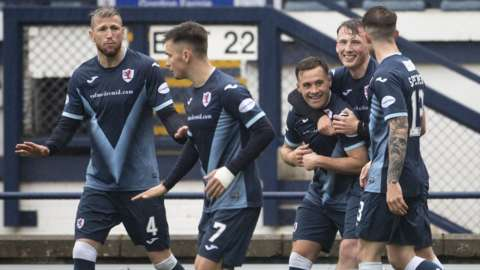 Raith Rovers celebrate Lewis Vaughn's breakthrough goal