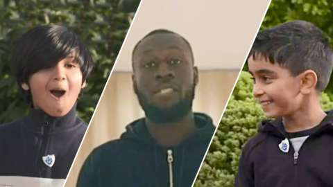 Blue Peter gold badge winners Ayaan and Mikaeel, and Stormzy
