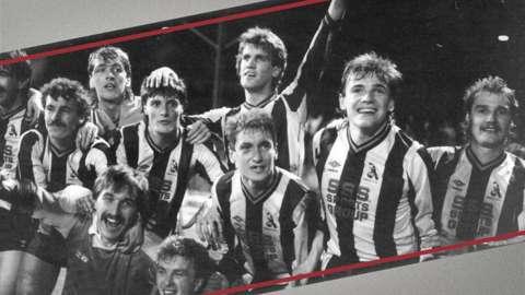 Chorley players celebrate after upset Wolverhampton Wanderers