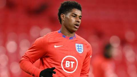 England's Marcus Rashford during the warm up before a match
