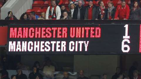 The scoreboard at Old Trafford showing Manchester United 1-6 Manchester City