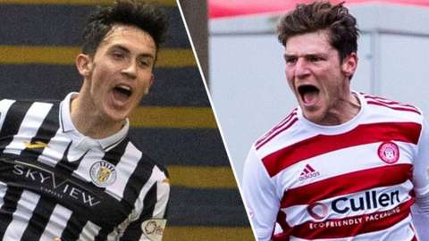St Mirren's Jamie McGrath and Hamilton's Ross Callachan