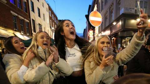 A girls' night out in Soho as lockdown restrictions are eased