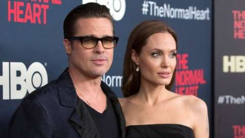 Actors Brad Pitt and Angelina Jolie attend the premiere of The Normal Heart in New York