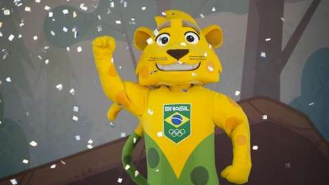 Brazil's Olympic team mascot named Ginga is presented on International Olympic Day inside the Maria Lenk aquatic center in Rio de Janeiro, Brazil, Tuesday, June 23, 2015.