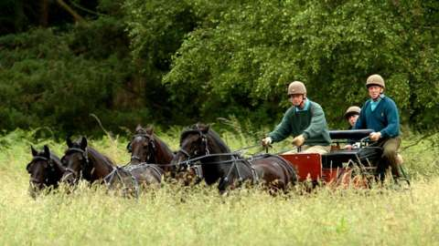 The Duke Edinburgh competes at the Sandringham Country show Horse Driving Trials held on the Norfolk Estate in 2005