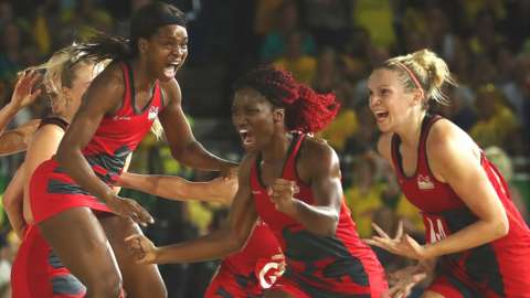 England celebrate Commonwealth netball gold