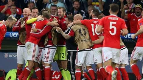 Gareth Bale and co celebrate scoring v Belgium in Euro 2016