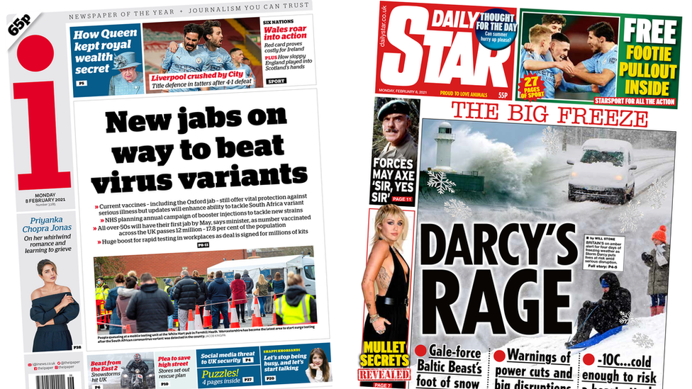 i and Daily Star front pages