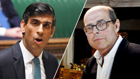 Split image of chancellor Rishi Sunak and broadcaster Nick Robinson