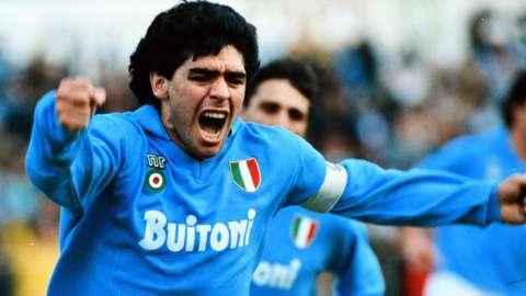 Diego Maradona celebrates scoring for Napoli against AC Milan in 1988