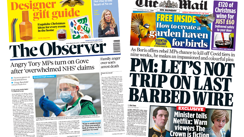 The Observer and The Mail on Sunday front pages 29 November 2020