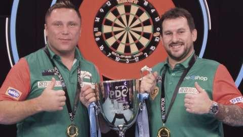 Gerwyn Price and Jonny Clayton celebrate