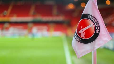 A corner flag at The valley, home of Charlton Athletic