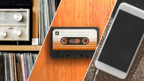 A collection of items for listening to music; from vinyl LPs and a cassette tape to a mobile phone today