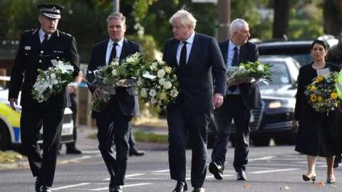 Boris Johnson, Sir Keir Starmer, Sir Lindsay Hoyle and Priti Patel at scene of killing
