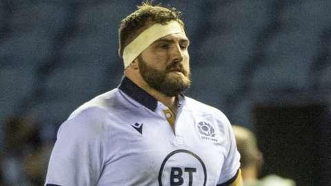 Jamie Bhatti in action for Scotland