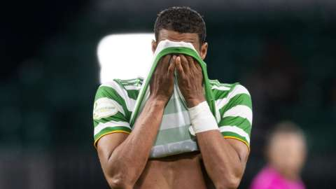 Celtic defender Christopher Jullien cannot hide his disappointment
