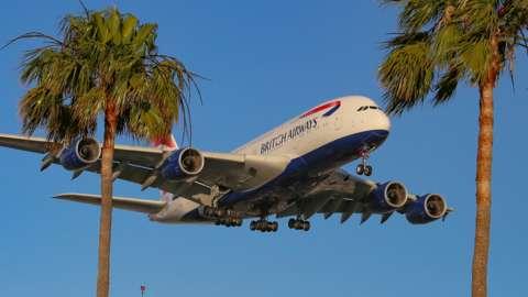 BA Airbus A380 lands in LA