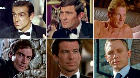 Sir Sean Connery, George Lazenby, Sir Roger Moore, Timothy Dalton, Pierce Brosnan and Daniel Craig