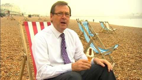 John Hess on a deck chair