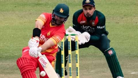 Zimbabwe's Ryan Burl hits out against Bangladesh